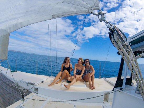 Denarau Island, Fiji: deck chilling. Yacht charter and resort stay adventures on Moana.