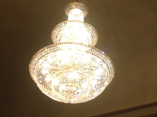 West Point, NE: Chandelier installed in main theatre area