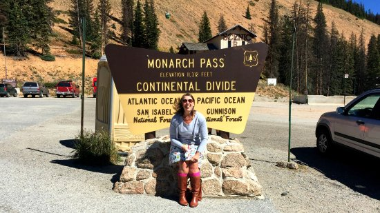 Salida, CO: Typical pic at the Monarch Pass Continental Divide sign.