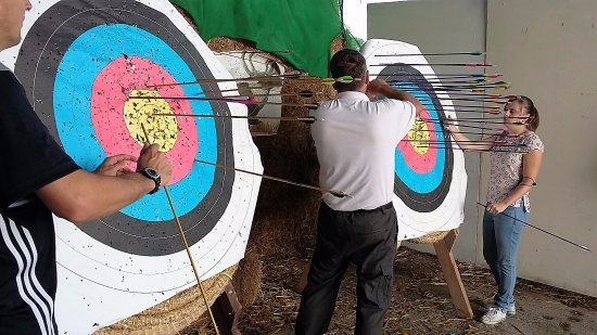 Wall Eden Adventure: Couple doing Archery on Wednesday 21st September 2016