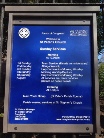 The notice board for St Peter's Church in Congleton - 20th April, 2016