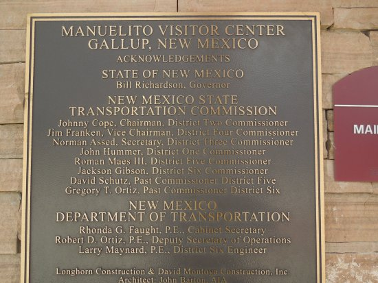 Gallup, NM: State of New Mexico dedication plaque