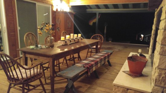 Round Top, TX: Breeze way has a fireplace and ample room for dining el fresco