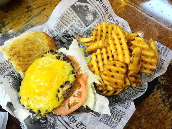 Delaware, OH: cheeseburger/waffle fries