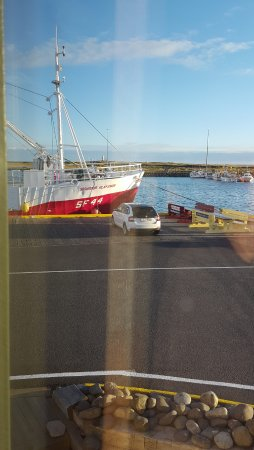 Hofn, Islândia: View of the boat from the restaurant