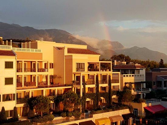 Tivat, Montenegro: Rainbow on the mountains