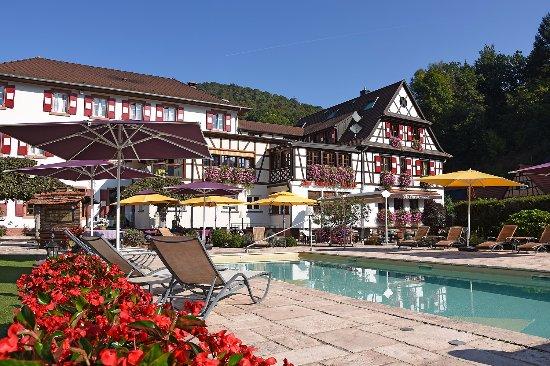 Hotel Restaurant Cheval Blanc: piscine extérieur, jardin et terrasse