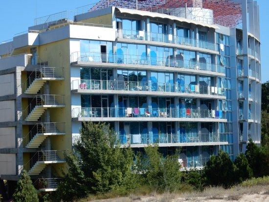 Kiten, Bulgaria: Hotel pohled s pláže