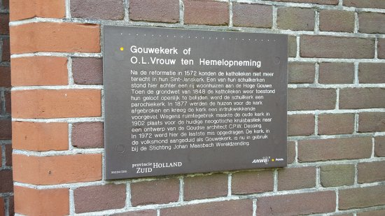 Gouda, Hollanda: tourist info sign (in Dutch) about the church