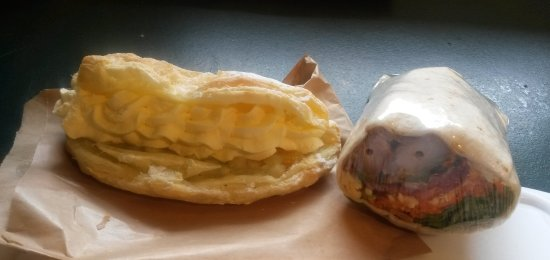 Drury, New Zealand: cream apple turnover and chili chicken wrap