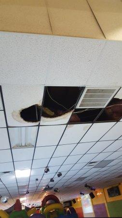 Rollerdome Fun Plex Broken Damaged Ceiling Tiles Above The Rink Floor