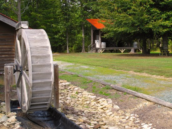 Snow Camp, NC: Water Wheel & Out Building at Wolfe Wines