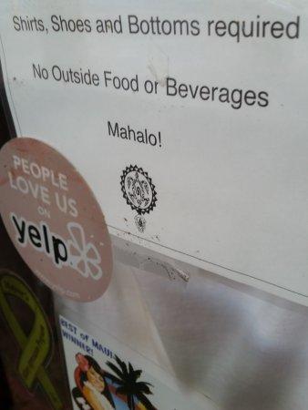 Napili-Honokowai, Гавайи: We did enjoy this sign on the door. No bare bottoms allowed here!