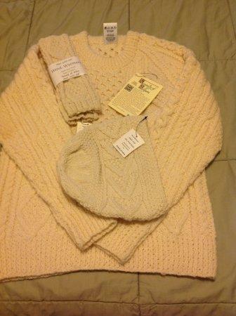Ladies Irish Handknit Sweater, hand warmers and cap.