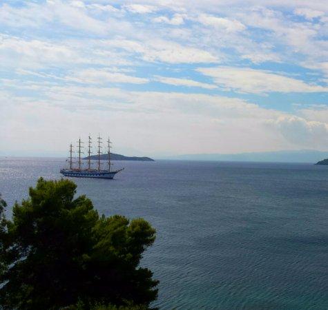 Megali Ammos, Grekland: Vista dal Cafè del Mar