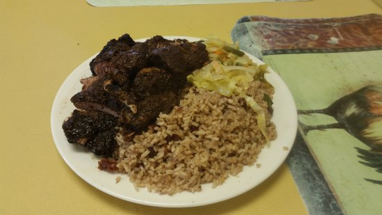 Port Saint Lucie, FL: Jerk City Jerk Pork with peas, rice and steamed cabbage (large $12)