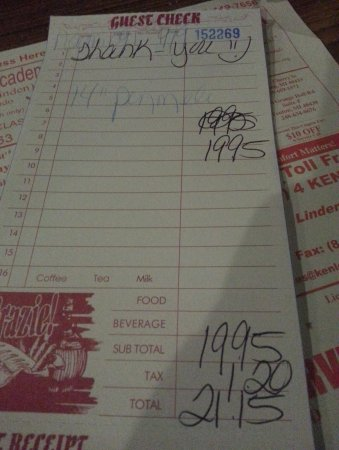 Holly, MI: Our bill for one pizzeli, pop is not shown.