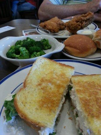 Birch Run, MI: Broasted chicken dinner and chicken salad sandwich.