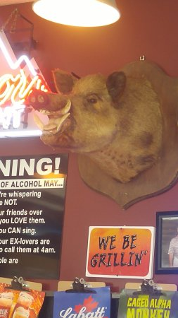 Lakeville, État de New York : pig on wall inside restaurant