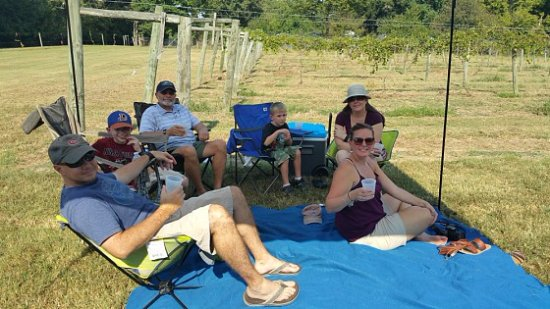 Millington, TN: Family enjoying wine and music