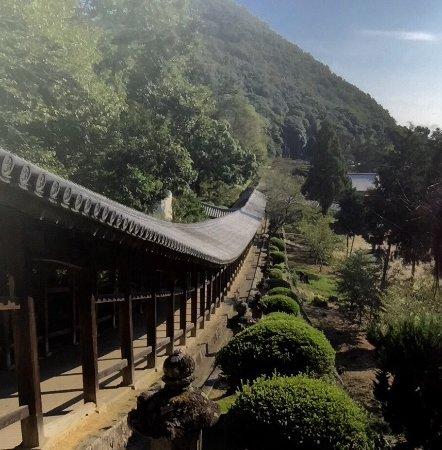 Okayama Prefecture, Japan: 吉備津神社の400mの廊下 ゆっくりとした下り坂