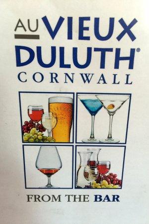Au Vieux Duluth Cornwall Menu