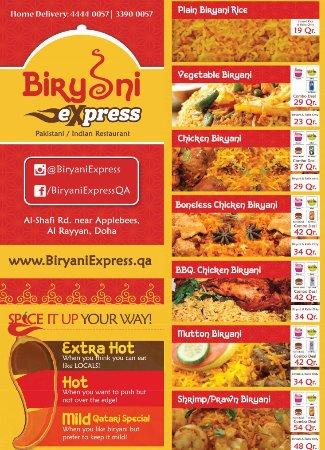 English menu page 1 - Picture of Biryani Express, Doha - Tripadvisor