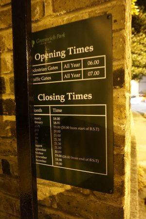 Greenwich Park: ensure your opening times