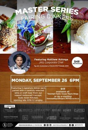 September 26 at Townhall Maple Ridge – A Master Series Pairing Dinner Hosted By Matthew Astorga