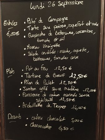 Ludes, Francia: The Menu !