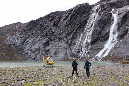 Above & Beyond Alaska: Landing by the lake before hiking up to the Lemon Glacier