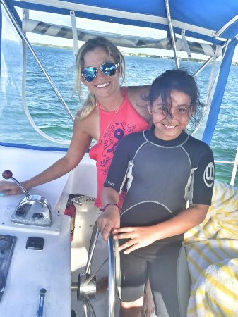 "Tavernier, FL: Capt. Sky with one of our ""Kids Camp students"" summer 2016"