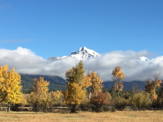 Teton Village, WY: taken from our porch on sep 25...fall foliage and snow on the tetons!