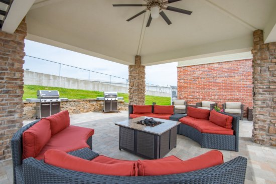 Jefferson City, MO: Relax by the fire pit in our new pavilion!