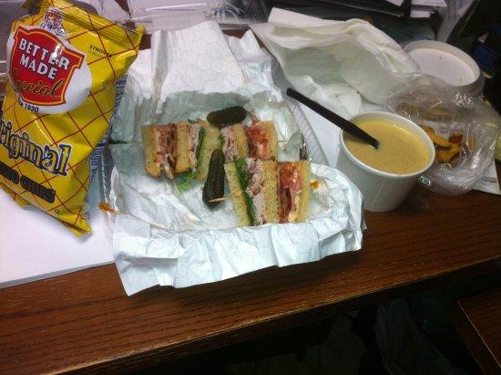 Julienne Tomatoes: Cheddar Ale Soup w/honey mustard pretzels - plus today's sandwich special.
