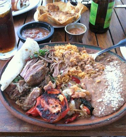 Danville, CA: Carnitas Plate, salsa and carnita bean dip.