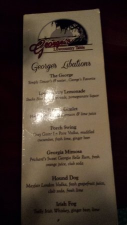 Athens, GA: Specialty Drink Menu (George's Lowcountry Table)