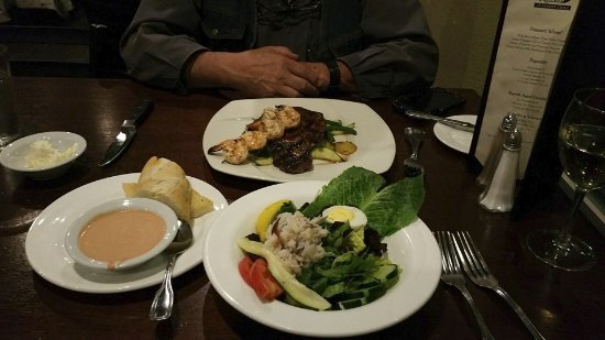 Depoe Bay, OR: Crab Salad for me and Rib Eye and Shrimp Skewer for Hubby.