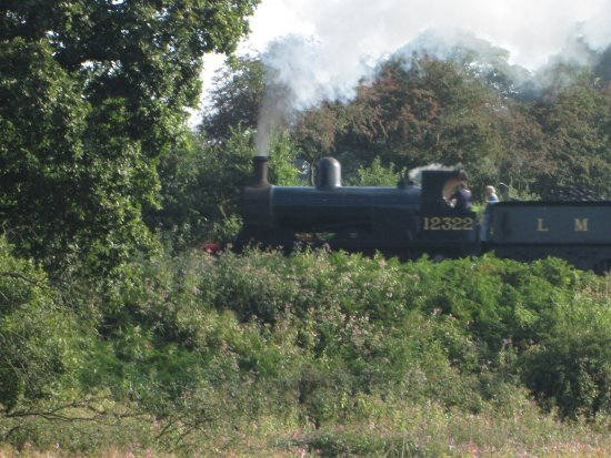 Bury, UK: East Lancs railway, seen from Burrs park caravan site.