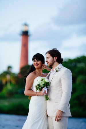 A wedding on the shores near the historic Jupiter Lighthouse