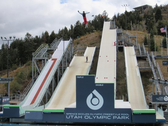Park City, UT: Skier performing the Triple Jump.