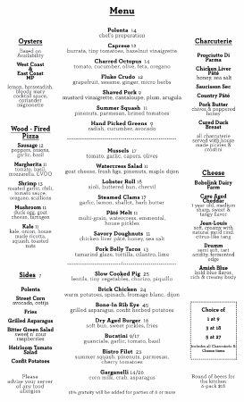 Red Bank, Nueva Jersey: Fall '16 Dinner Menu