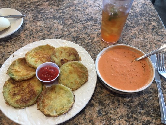 Marquette, MI: Fried Green Tomatoes and Creamy Tomato Bisque Soup- AMAZING!