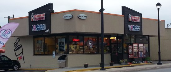 Niles, IL: Front & drive-thru entrance for Dunkin' Donuts