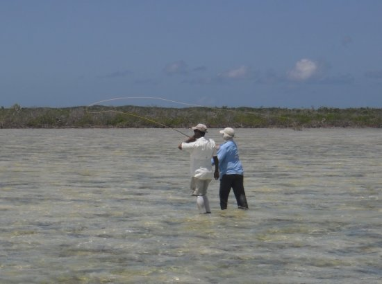Acklins Island: casting at bonefish on a typical flat