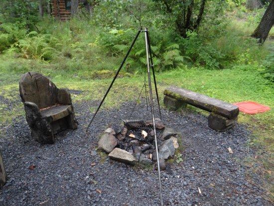 Alaska Creekside Cabins: Firepit area in back