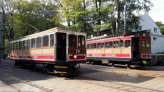 Douglas, UK: Train 19 at Laxey with Snaefell train no 6 in the background