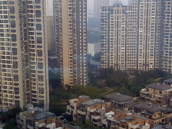Zhuzhou, China: view from the 24th floor facing the park lakes