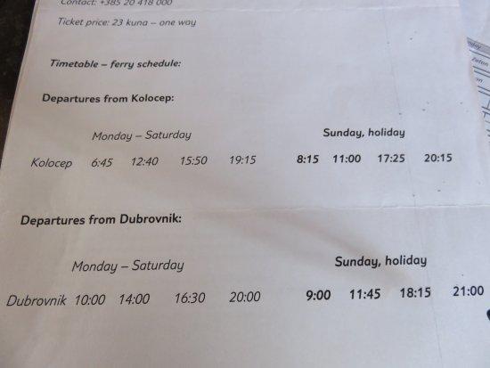 Kolocep Island, كرواتيا: Local Ferry Boat Schedule