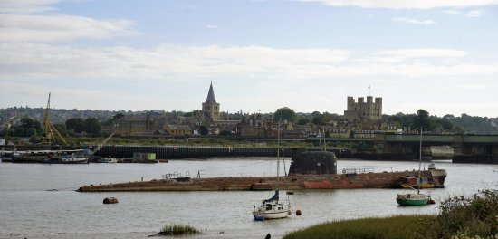 U-475 Black Widow Russian Submarine: U-475 with castle and cathedral in the background